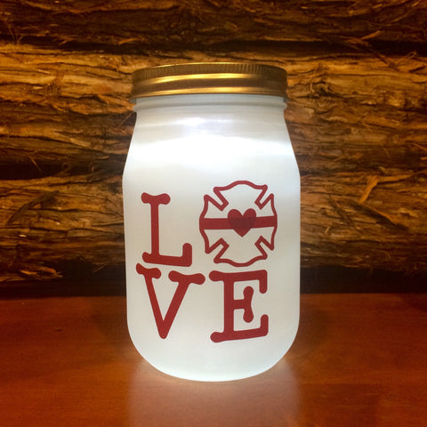 Firefighter Gift, Firefighter LOVE LED light. Custom Firefighter mason jar Firefighter night light, personalized Firefighter Gift