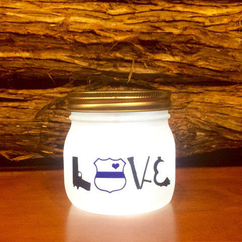 Police LOVE LED light. Custom Police Officer mason jar, Law Enforcement night light, personalized Police Officer Gift, Police light