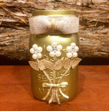 Gold Mason Jar, Wedding Mason Jar, Rustic Mason Jar, Rustic Wedding Decor, Wedding Centerpiece, 50th Anniversary Gift, Golden Anniversary