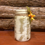 Rustic Ivory and Gold Mason Jar, heavily distressed gold mason jar, Shabby Chic Mason Jar, Rustic Vase, Rustic Mason Jar Centerpiece