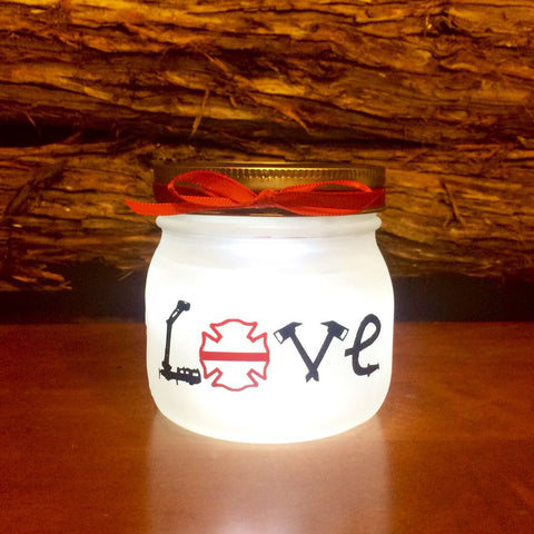 Firefighter Gift, Firefighter LOVE LED light. Custom Firefighter mason jar Firefighter night light, personalized Firefighter Gift, pint size