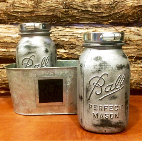 Rustic Silver Mason Jars, Industrial Mason Jar, Stainless Steel Mason Jar, Vintage Jar, Mason Jar Decor, Painted Mason Jar, Industrial Decor