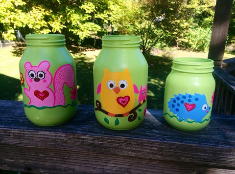 Owl Canisters, Happi Tree Owl Mason Jars, Happy Tree, Happi Tree Nursery Decor, Nursery storage containers, Owl Mason Jars, Hand Painted Jar