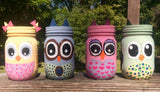 Hand painted Owl Mason Jar. Owl storage, owl nursery decor, owl home decor. Decorative owl family