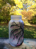Hand painted willow tree vase, willow tree canister, willow tree frosted glass votive holder, willow tree with pink flowers, tree mason jar