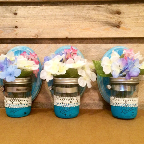 Mason Jar Wall Sconces, Rustic Mason Jar Sconces, Peacock Blue Mason Jar Sconces, Mason Jar Wall Decor, Small Mason Jar Sconces, Shabby Chic