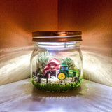 Farm theme LED Night Light, John Deere inspired night Light,  Green Tractor night light, Farm scene Mason Jar Light, farm animal night light
