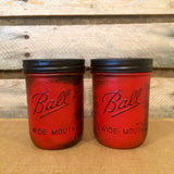 Mason Jar Bathroom Set, Rustic Red Mason jars, Red Mason Jar Desk Set, Rustic Mason Jar Office Decor, Rustic Red Mason Jar Bath Accessories