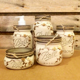 Mason Jar Desk Set, Mason Jar Bathroom Set, Mason Jar Office Decor, Rustic Ivory and Bronze Mason Jar Set, 5 Piece Mason Jar Vanity Set