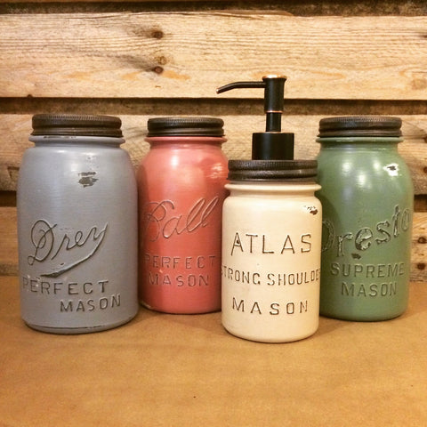 Vintage Mason Jar Canisters, Rustic Kitchen Decor, Mason Jar Soap Dispenser, Atlas, Ball, Presto, Earth tone Mason Jar Kitchen Canisters