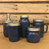 Mason Jar Bathroom Set, Rustic Blue Mason jars, Mason Jar Desk Set, Mason Jar Mug,  Rustic Mens Bath Accessories, Mason Jar Soap Dispenser