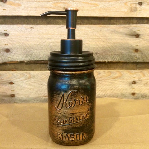 Vintage Mason Jar Rustic Copper Soap Dispenser. Mens Bathroom Accesories