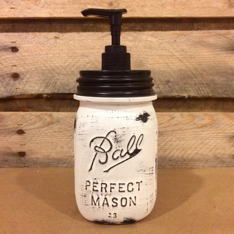 Mason Jar Soap Dispenser, Vintage White Mason jar ,Rustic White Soap Dispenser, Distressed White Mason Jar, Vintage Ball Perfect Mason Jar