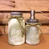 Vintage Mason Jar Kitchen Canisters, Rustic Green and Ivory Mason Jars, Mason Jar Soap Dispenser, Ball, Drey, Kerr Mason Jar Kitchen Storage