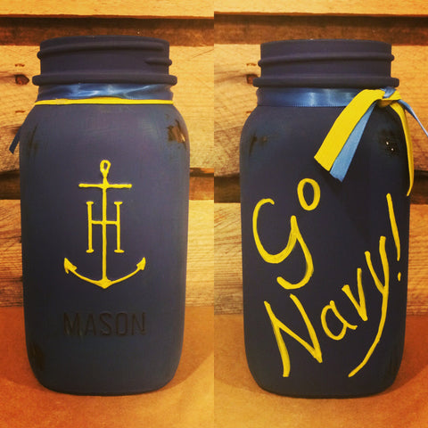 Go Navy Vintage Anchor Hocking Mason Jar with Amchor Embossing, Hand Painted Mason Jar, Go Navy, US Navy gift