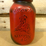 Vintage Red Mason jar canisters, Rustic Red Canister Set with Soap Dispenser, Distressed Red Mason Jars, Red Kitchen Storage, Moms Mason Jar