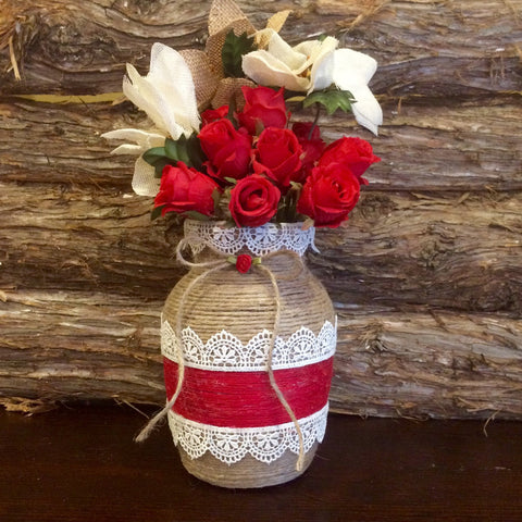 Rustic Red and Natural Brown Jute Wrapped Vase