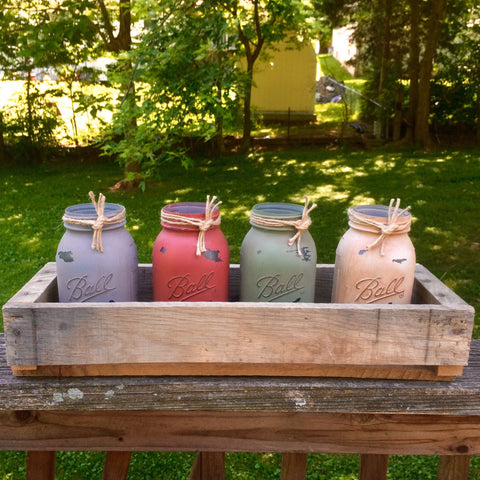 Rustic Mason jars, Mason Jars Centerpiece, Rustic Mason Jar Canisters, 4 Painted Mason Jars in Primitive Wood Box