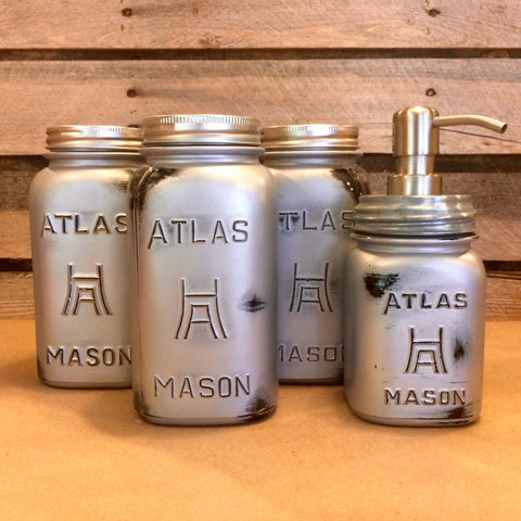 Rustic Silver Mason Jar Canister Set, Industrial Mason Jar Kitchen Canisters, Silver Mason Jar Soap Dispenser, Vintage Atlas Mason Jar Set