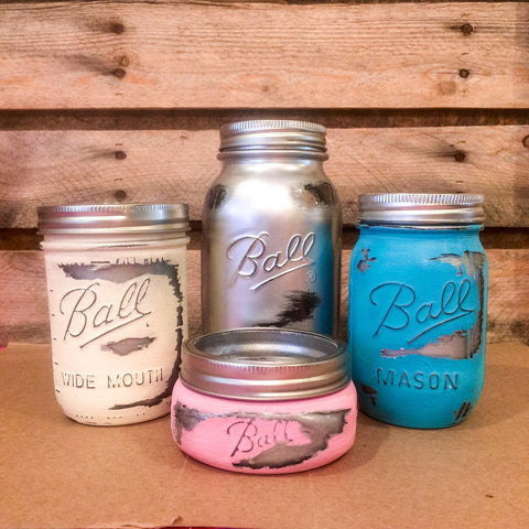 Mason Jar Bathroom set, mason jar desk set, Pastel and Chrome Painted Mason Jars, Mason Jar office, Mason Jar Vanity Set, Silver Mason Jars