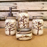 Mason Jar Desk Set, Mason Jar Bathroom Set, painted Mason Jar Decor, Ivory and Bronze Mason Jar Office Decor, 5 Piece Mason Jar Vanity Set