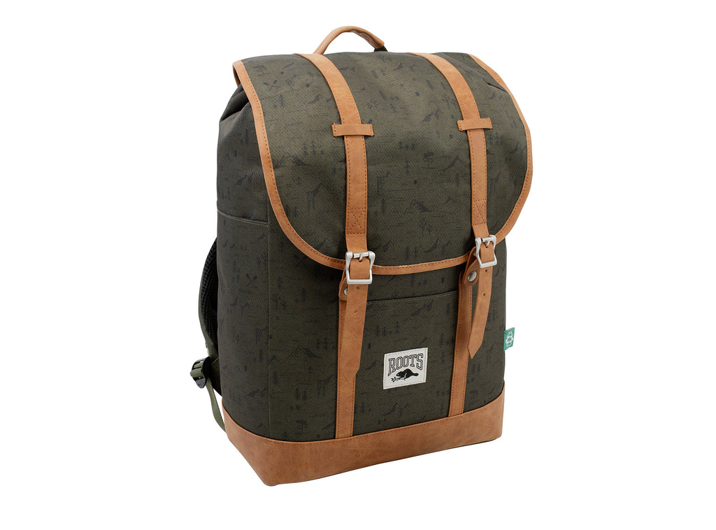Roots Khaki Print Backpack