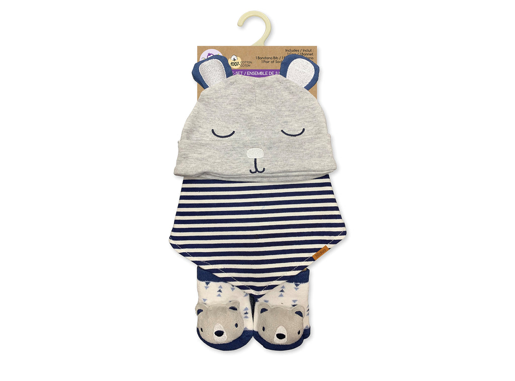 Hat, bib & socks set 0-6 months teddy bear
