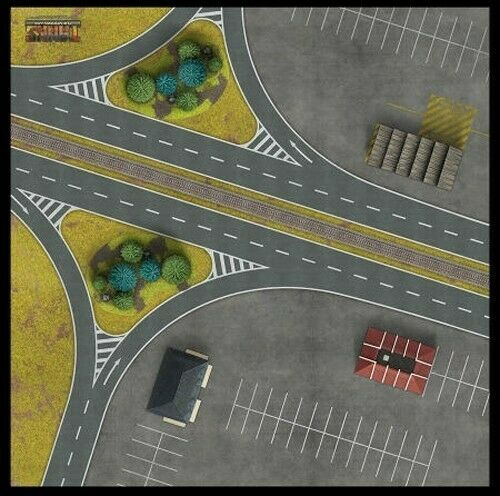 "TANKS THE MODERN AGE :""BERLIN AUTOBAHN"" GAMING MAT 36""x 36"""