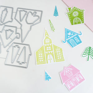 Alpine village houses and  trees cut out samples