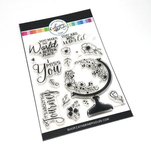 Flower globe and added flower clear stamp set with uplifting sentiments