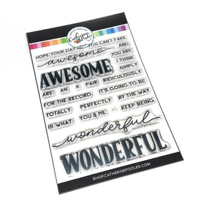 Awesome and Wonderful Sentiment builder clear stamp set by Catherine Pooler Designs