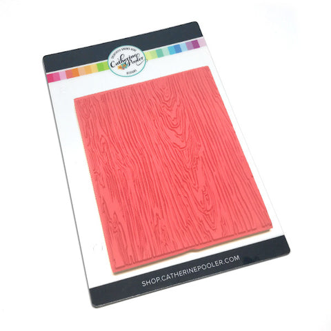 Woodgrain patterned red rubber background stamp