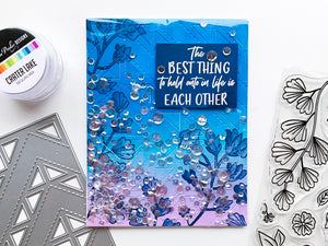 Blue blended Quilted background with Best Things in Life Florals