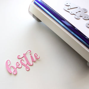 Bestie Word Die Cut out in pink
