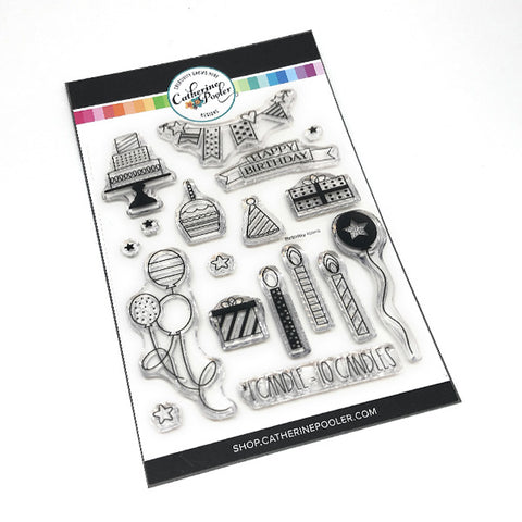 birthday themed clear stamp set by catherine pooler designs