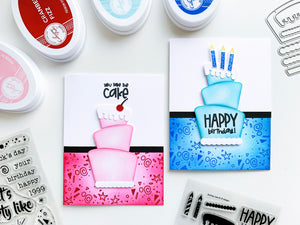 Two cards pink and blue Remix Birthday Cakes