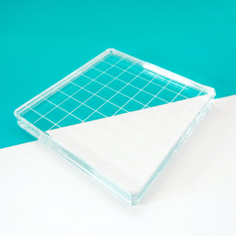 Acrylic Grid Stamping Block 4-1/4 x 4-1/4""