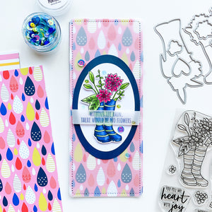 Bloomin Wellies Slimline with Drizzle raindrop paper