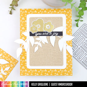 Yellow card with a-maze-ing mini cover plate, vines and flowers