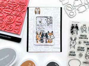 Critter Crew animals shaker card over chatterbox background