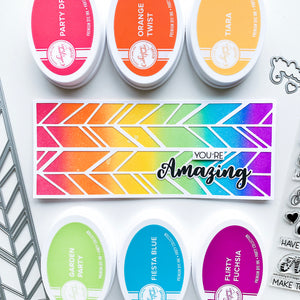 Amazing white Chevron over rainbow blended background