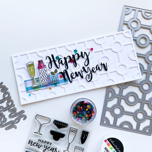 Happy New Year over Circle Squared Slimline Card with cocktail glasses