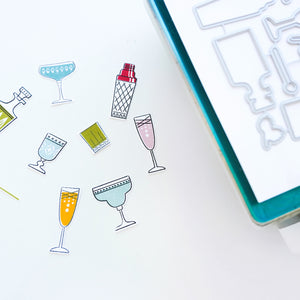 Cocktail Party Stamped and Cut Out images