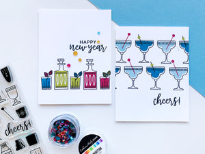 Cocktail Party glasses on two cards