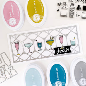Cocktail Party Glasses with Glitter On the Rocks Cut Out Cover Plate Slimline Card