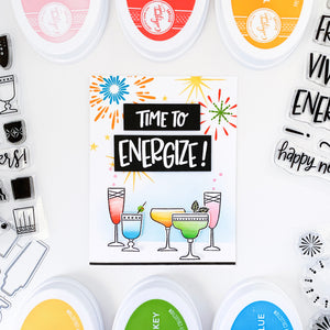 Time to Energize card with Cocktails in multiple colors along bottom and fireworks across the top