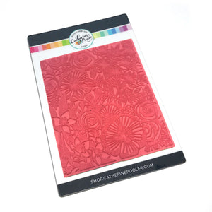 modern intricate floral images that fill a red rubber background cling stamp