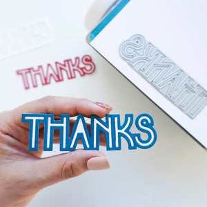 Deco Thanks Word Die White on Blue Layer cut out