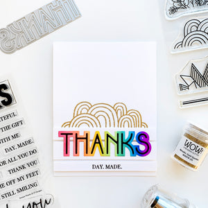 Deco Thanks Rainbow with Classy Trims gold embossed
