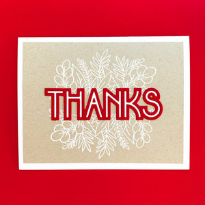 Deco Thanks with red layer on white floral classy trims card